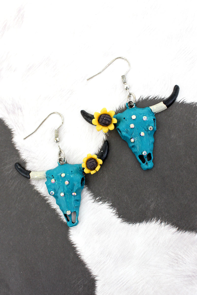 Sunflower and Crystal Accented Turquoise Steer Earrings