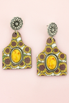 Yellow Stone & Sunflower Wood Cattle Tag Earrings