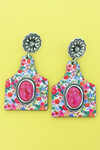 Fuchsia Stone & Botanical Garden Wood Cattle Tag Earrings