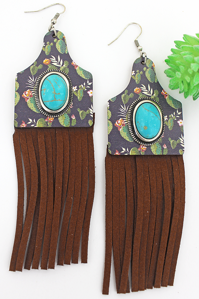 Turquoise Stone & Flowering Prickly Pear Wood Cattle Tag Fringe Earrings