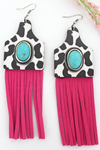 Turquoise Stone & Cow Wood Cattle Tag Fringe Earrings