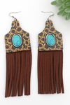 Turquoise Stone & Wild Sunflower Wood Cattle Tag Fringe Earrings