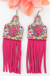 Fuchsia Stone & Botanical Garden Wood Cattle Tag Fringe Earrings