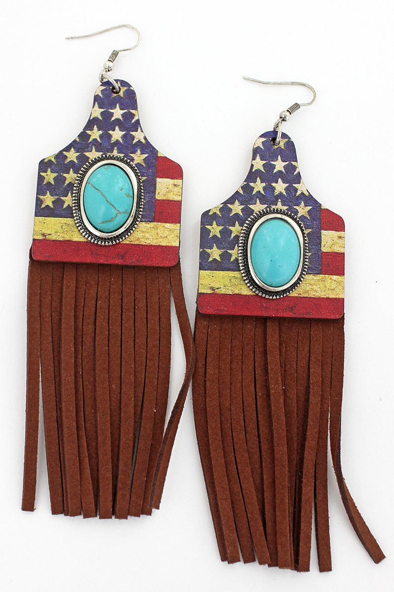 Turquoise Stone & Distressed Flag Wood Cattle Tag Fringe Earrings