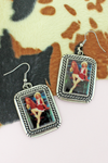 Pinup Cowgirl and Horse Portrait Earrings