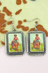 County Fair Farm Girl Portrait Earrings