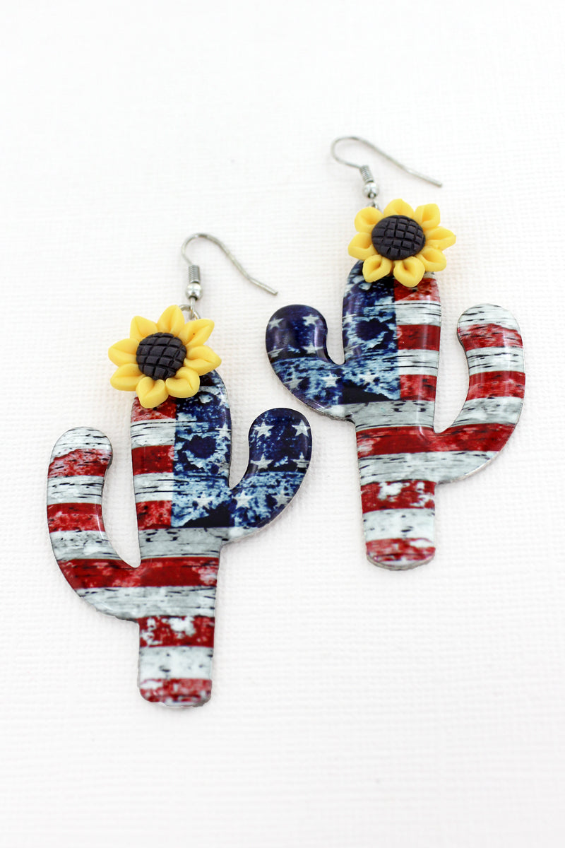 Sunflower Accented Old Glory Cactus Earrings