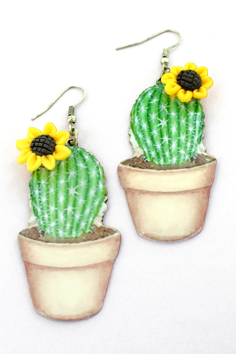 Sunflower Accented Potted Cactus Earrings