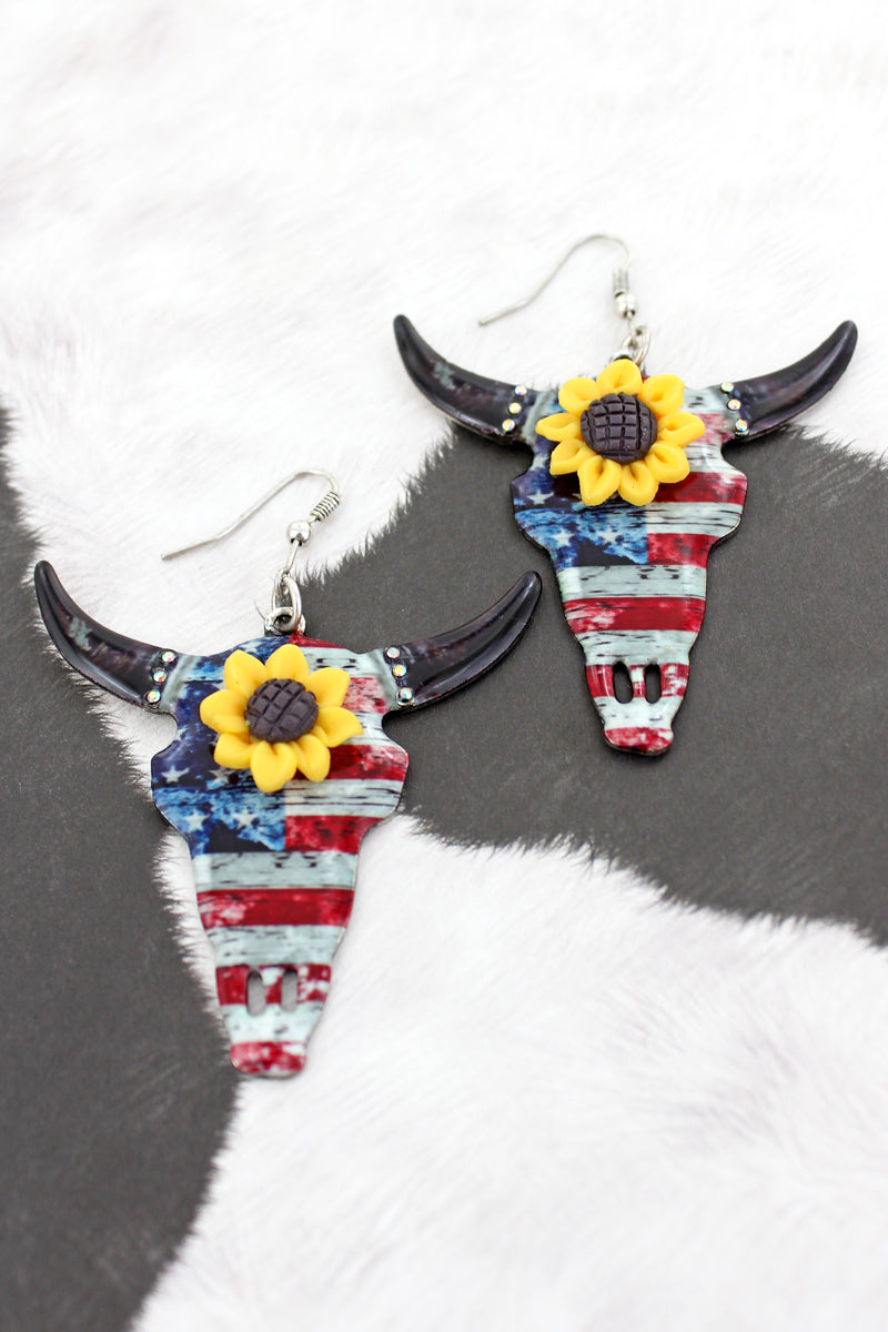 Sunflower Accented Old Glory Steer Earrings