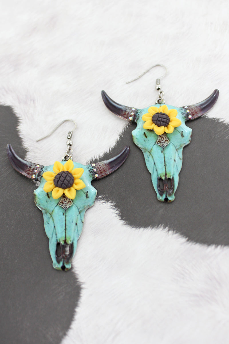 Sunflower Accented Mint Steer Earrings