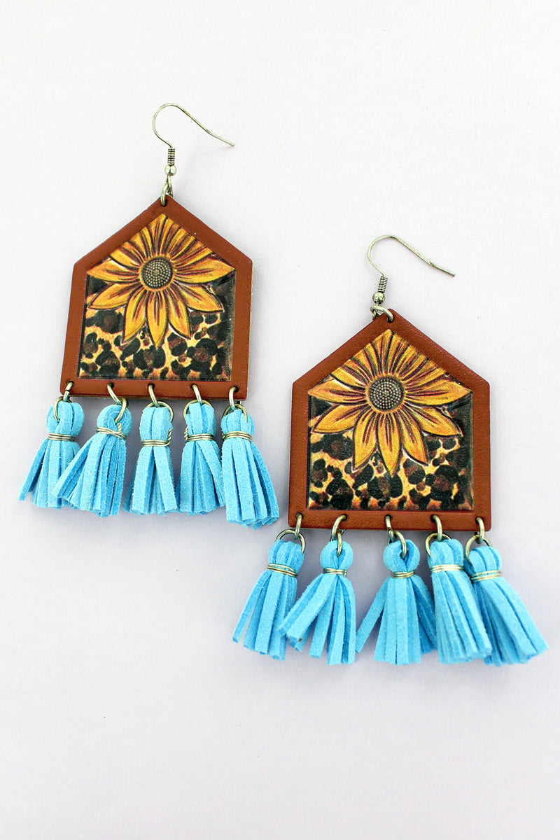 Sunflower Leopard Turquoise Tassel Fringe Earrings