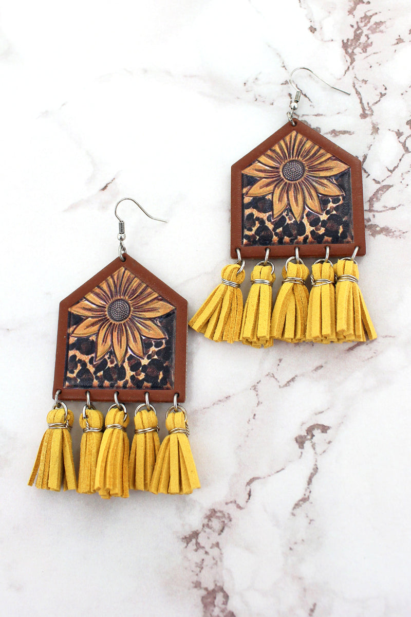 Sunflower Leopard Yellow Tassel Fringe Earrings
