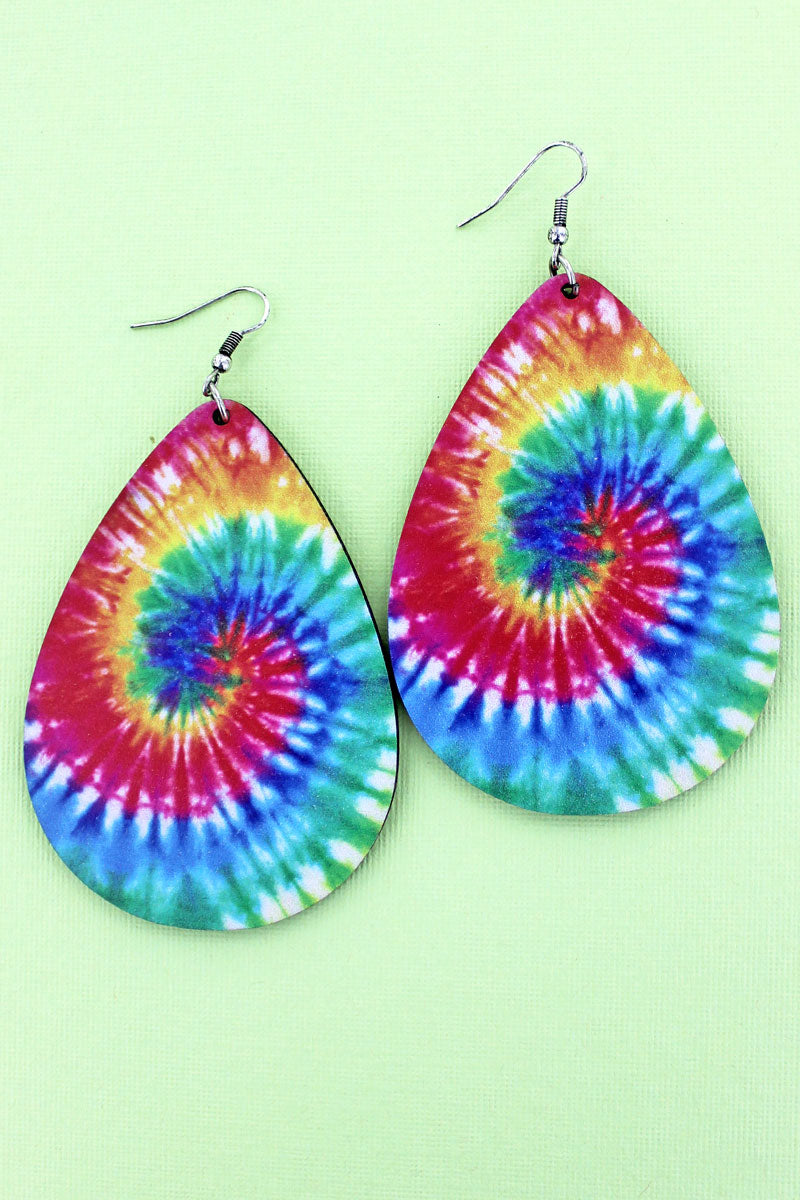 Large Tie-Dye Wood Teardrop Earrings
