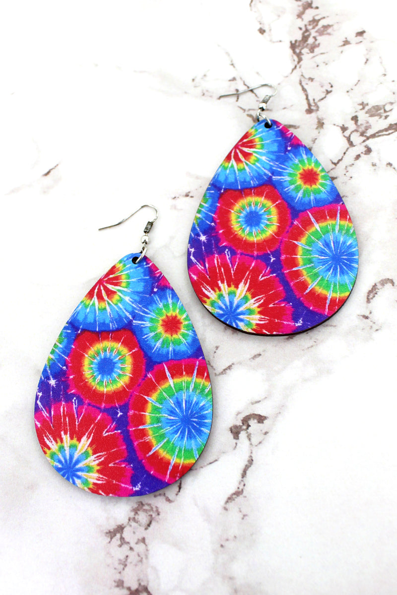 Large Tie-Dye Blast Wood Teardrop Earrings