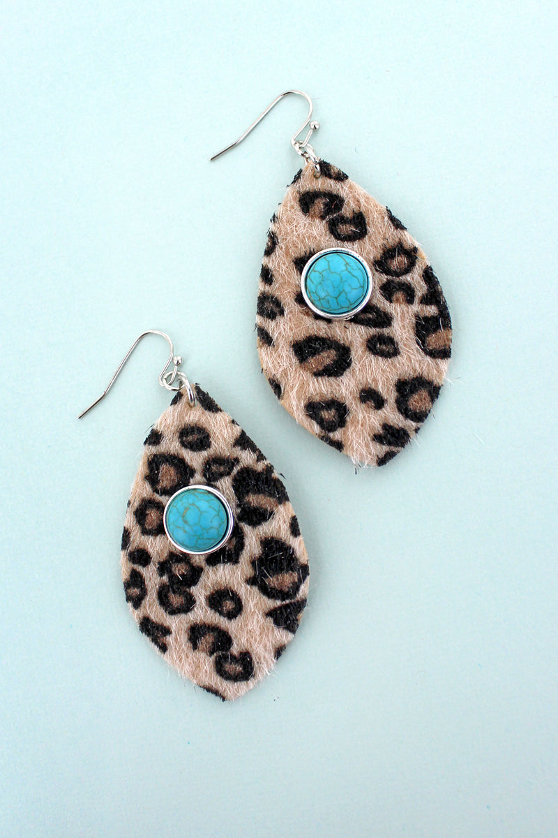 Turquoise Stone and Leopard Faux Fur Shredded Petal Earrings