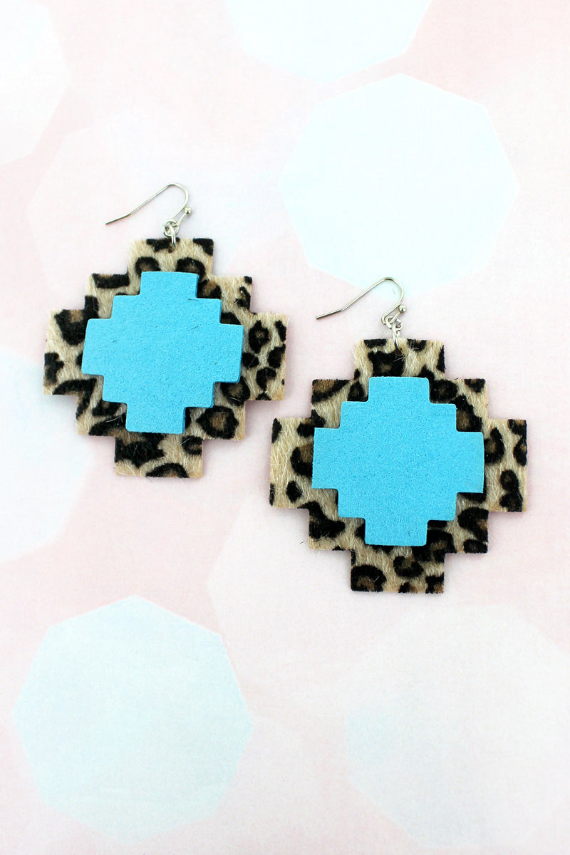 Leopard and Turquoise Faux Leather Southwestern Earrings