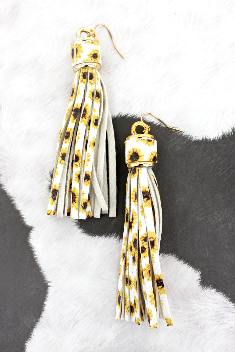 Sunflower White Faux Leather Tassel Earrings