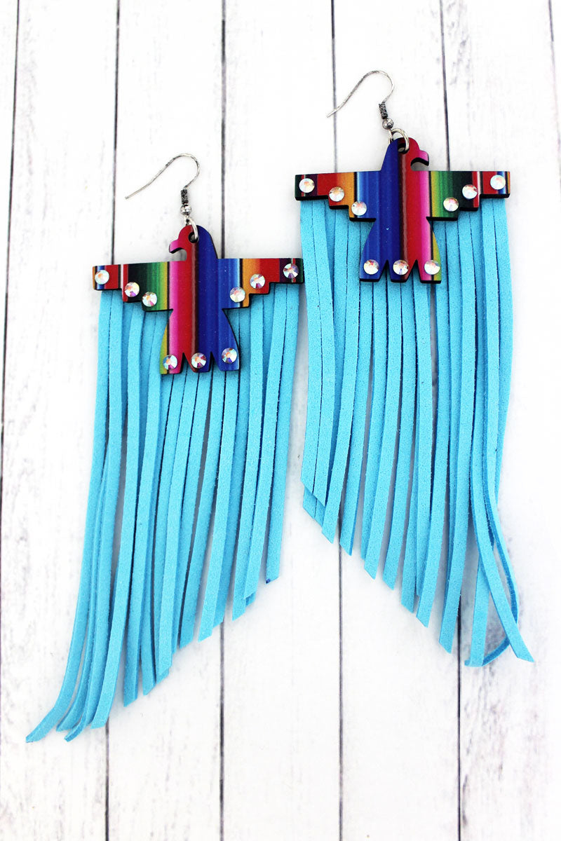 Crystal Serape Wood Thunderbird Blue Fringe Earrings
