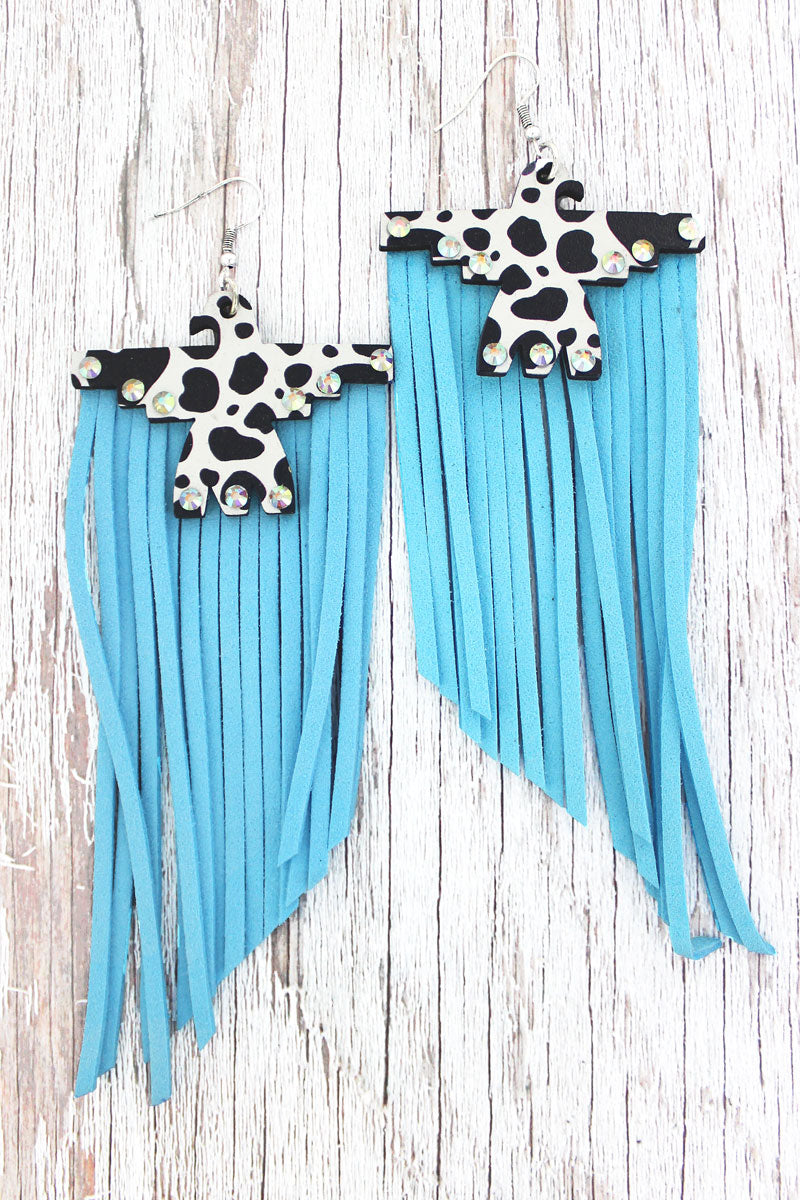 Crystal Cow Wood Thunderbird Blue Fringe Earrings