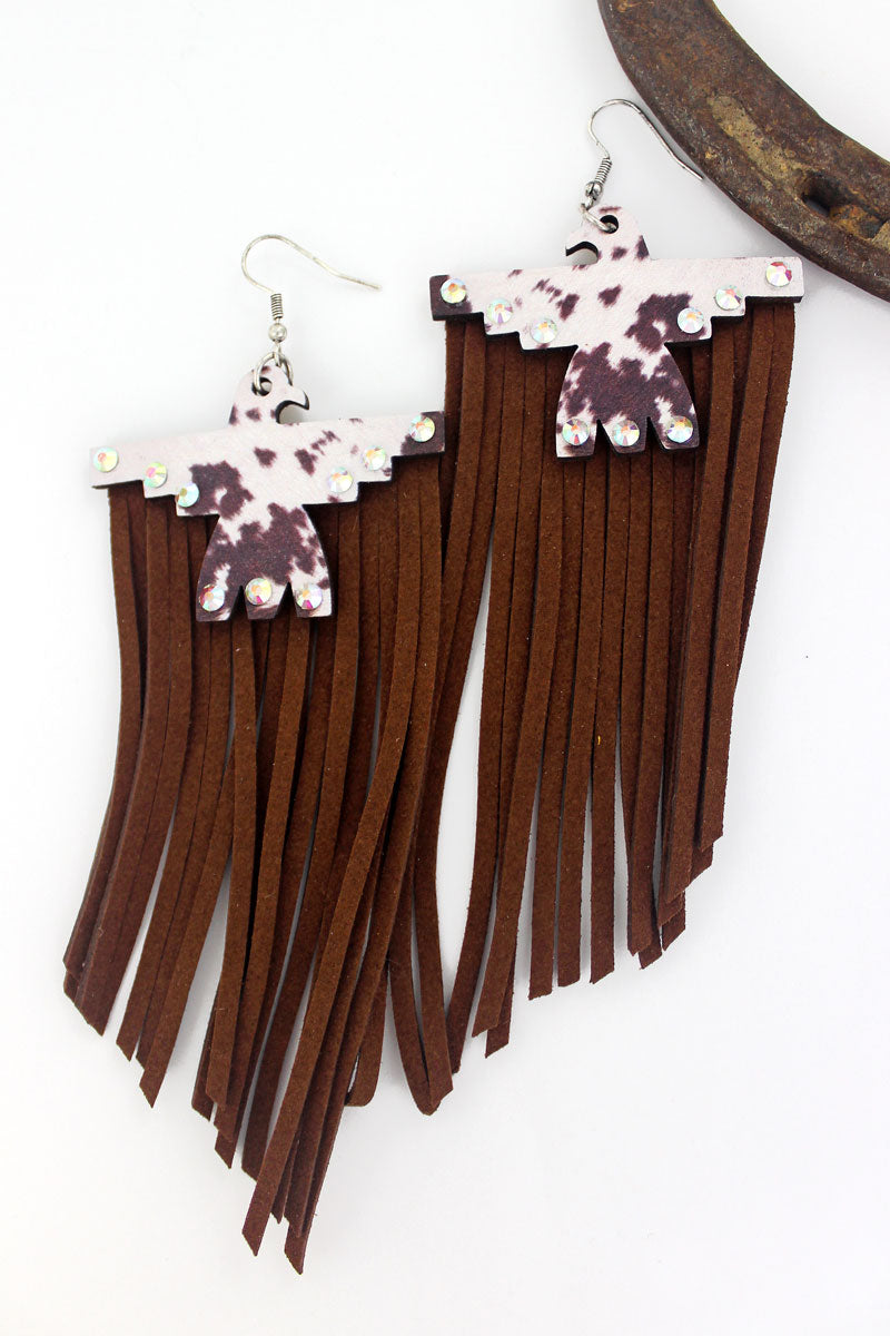Crystal Cow Hide Wood Thunderbird Brown Fringe Earrings