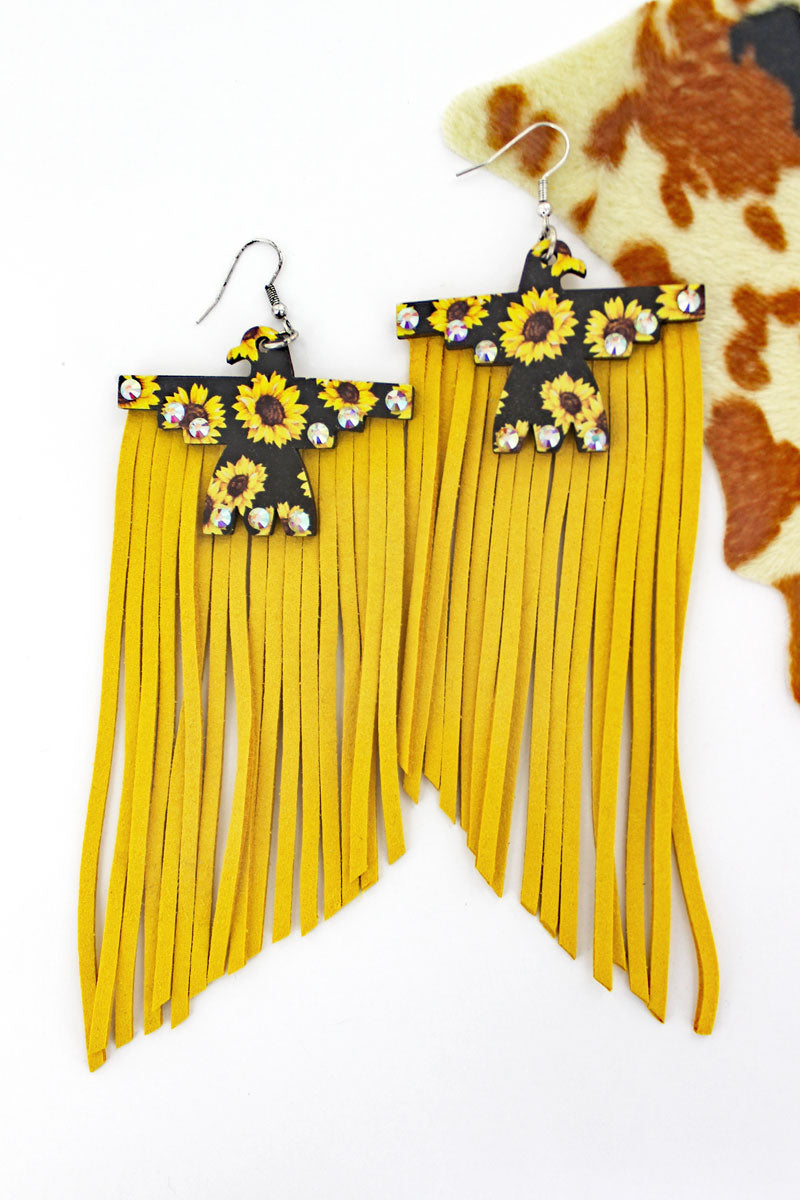 Crystal Sunflowers Wood Thunderbird Yellow Fringe Earrings