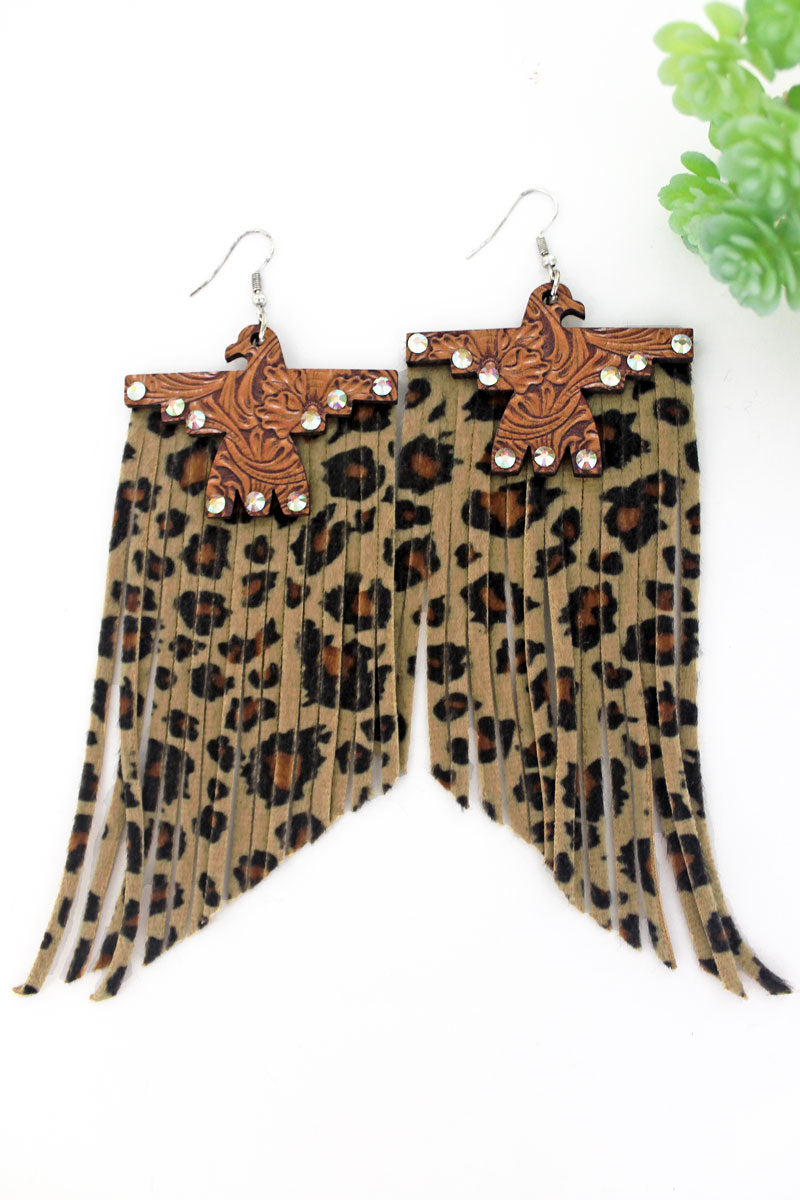 Crystal Wild West Wood Thunderbird Leopard Fringe Earrings