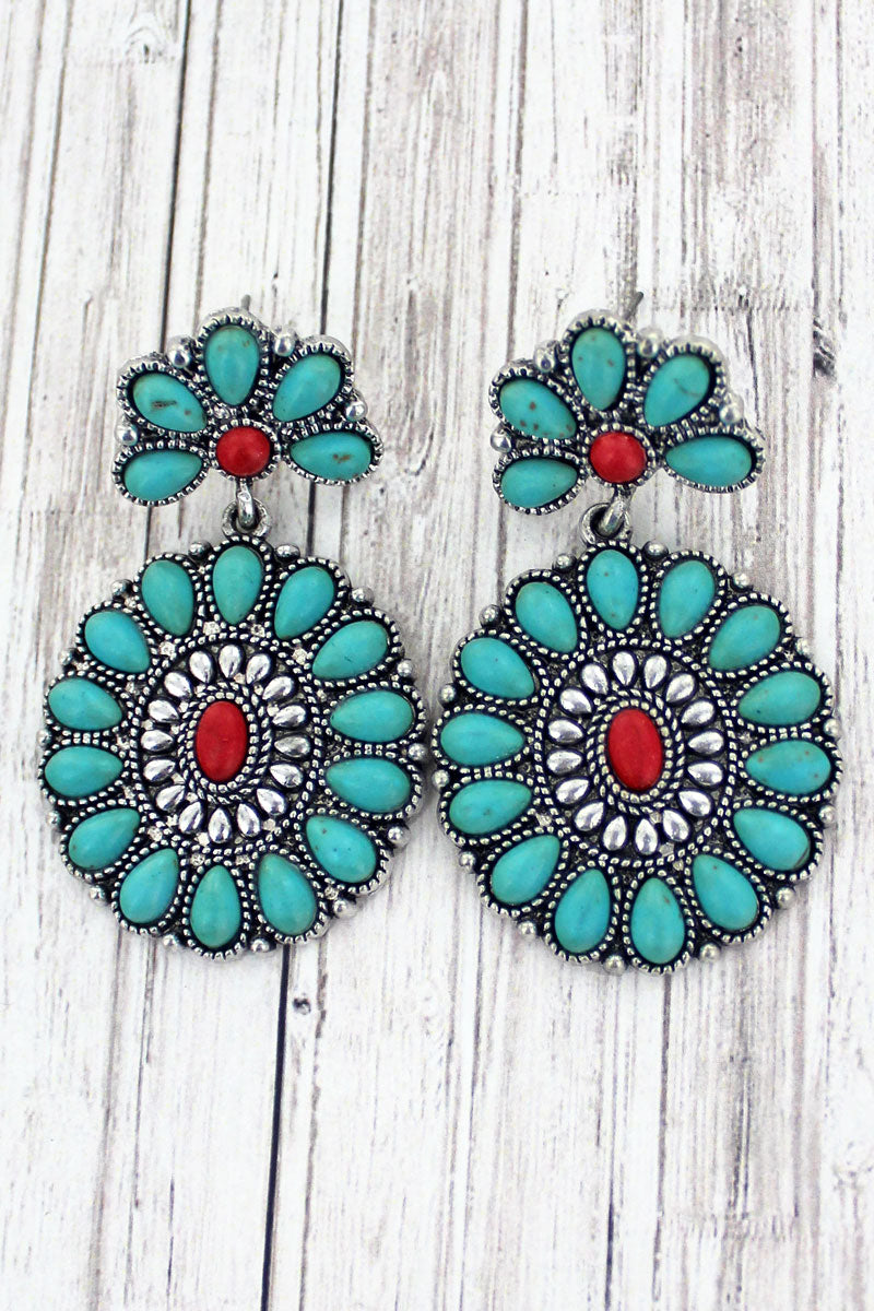 La Luz Turquoise and Red Beaded Earrings