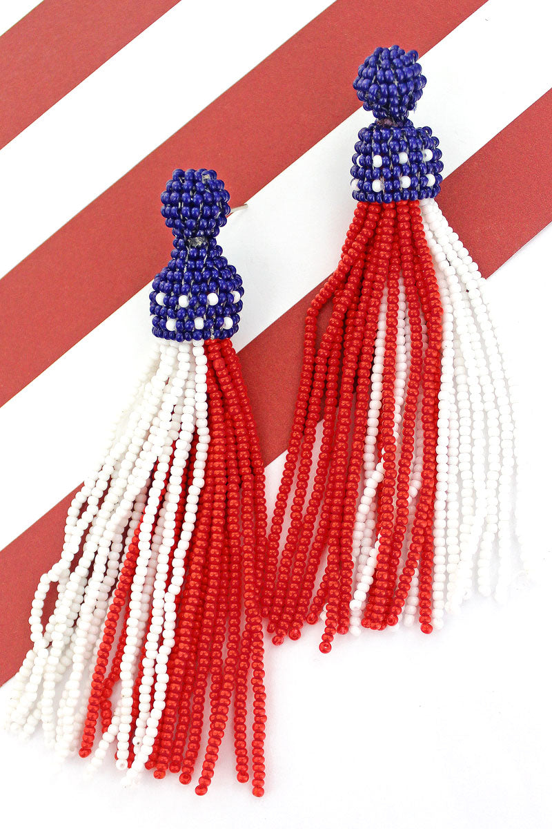 Stars and Stripes Seed Bead Tassel Earrings