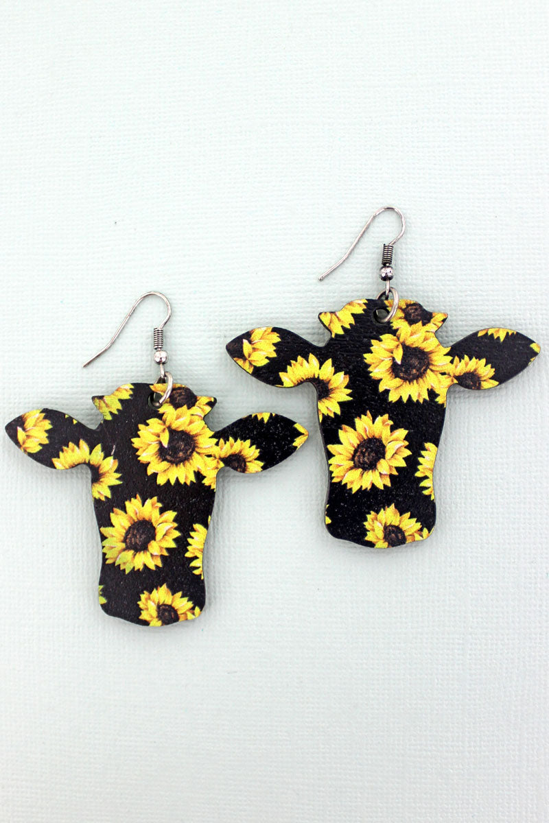 Sunflowers Black Wood Steer Earrings