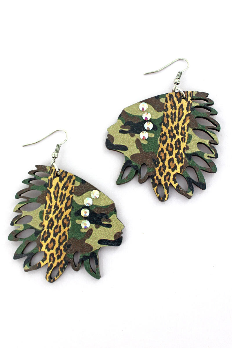 Jungle Cat Wood Native Headdress Earrings
