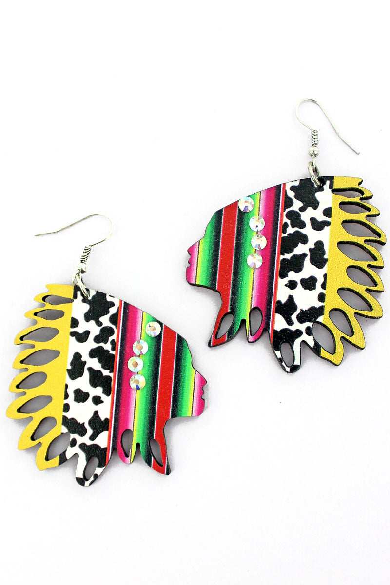 Fiesta Cow Wood Native Headdress Earrings
