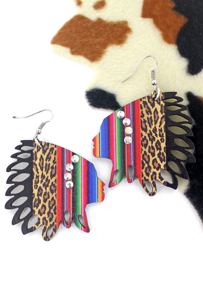 Fiesta Cat Wood Native Headdress Earrings