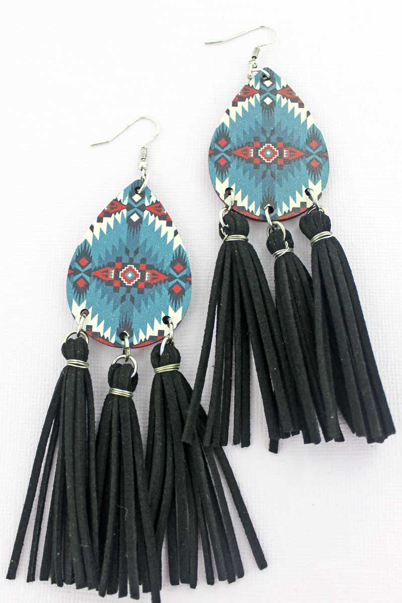 Horizon Mountain Wood Teardrop Tassel Fringe Earrings