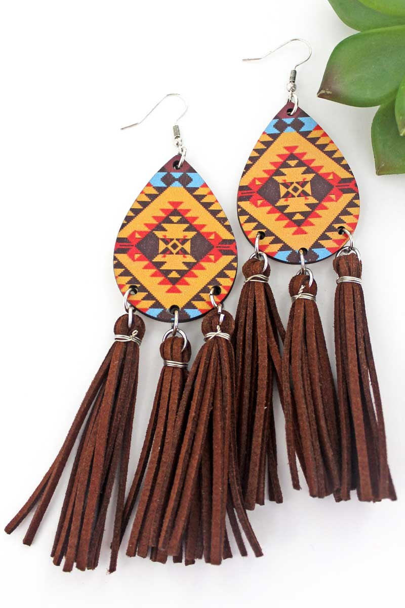 Sun River Wood Teardrop Tassel Fringe Earrings