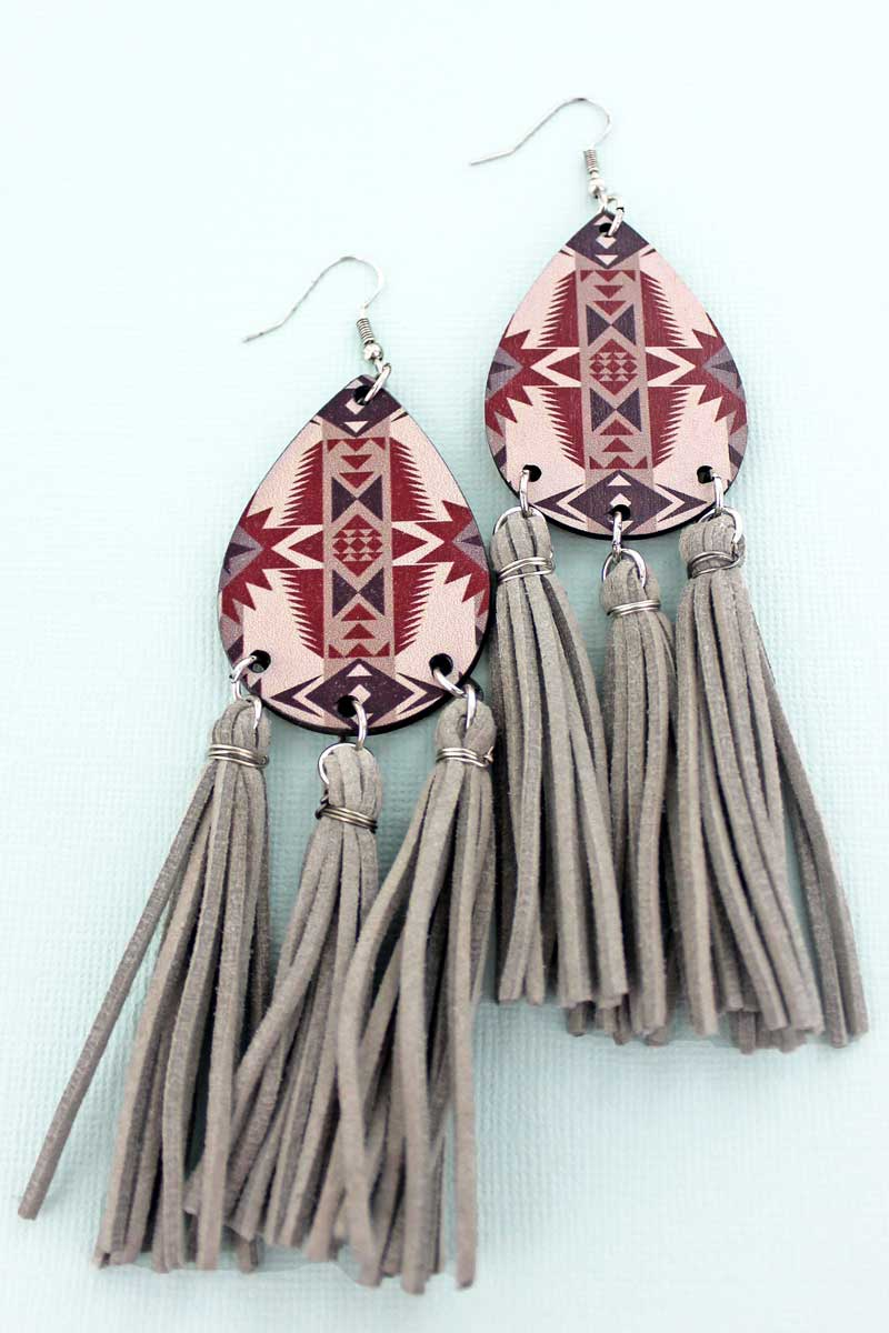 Angel Fire Wood Teardrop Tassel Fringe Earrings