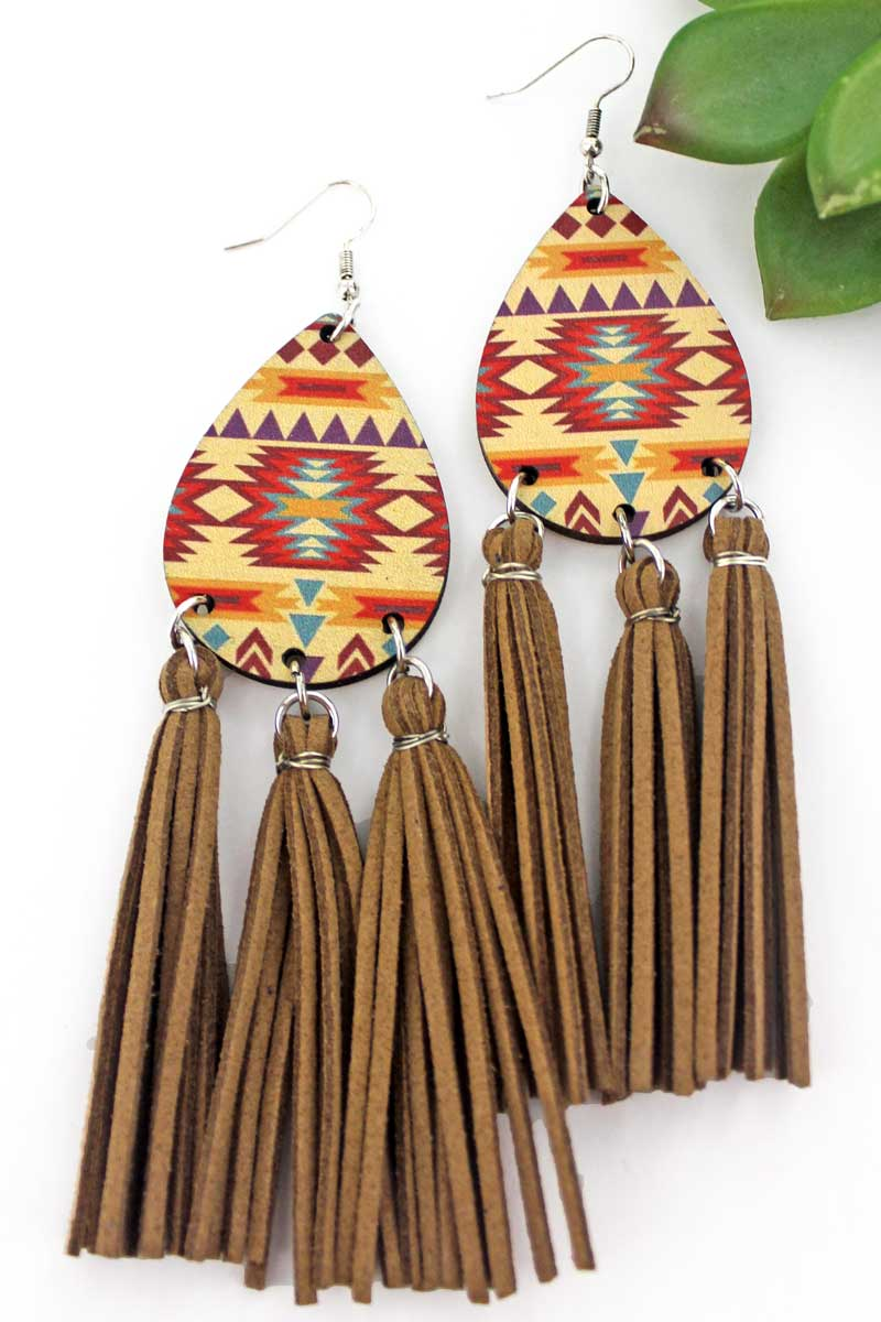 Painted Hills Wood Teardrop Tassel Fringe Earrings