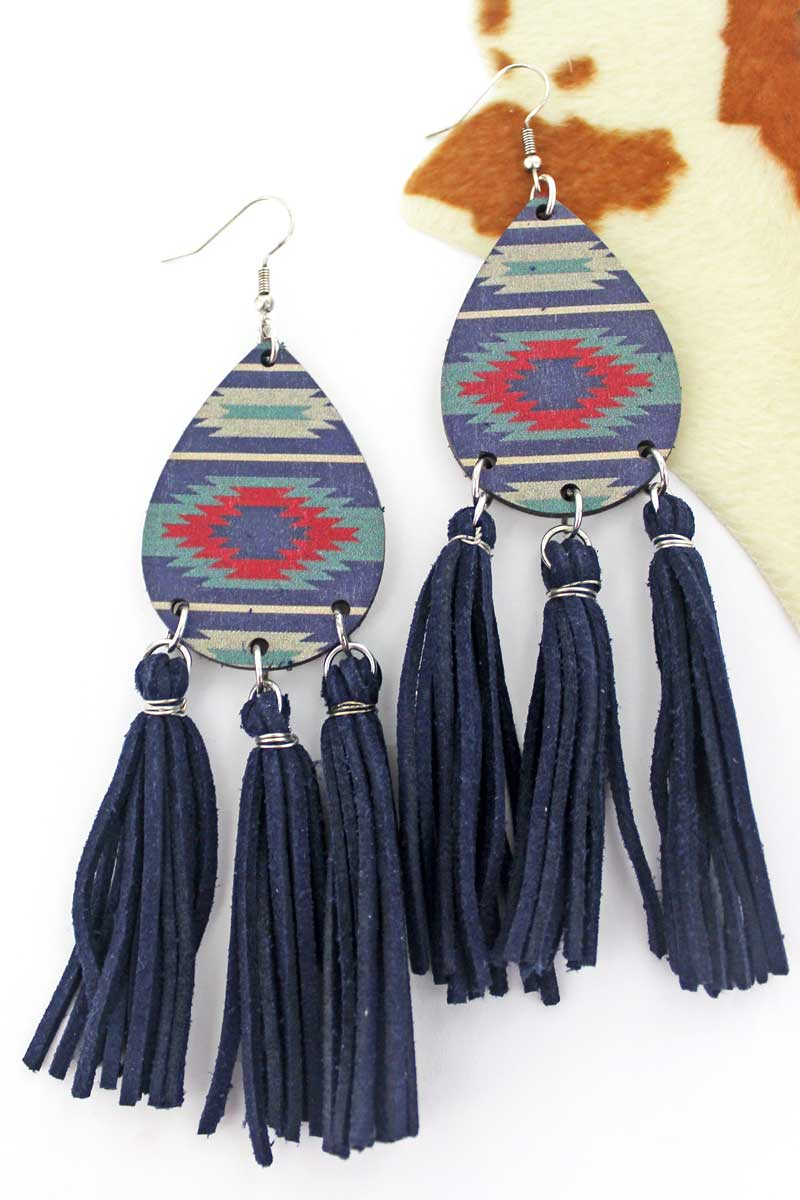 Stormy Skies Wood Teardrop Tassel Fringe Earrings