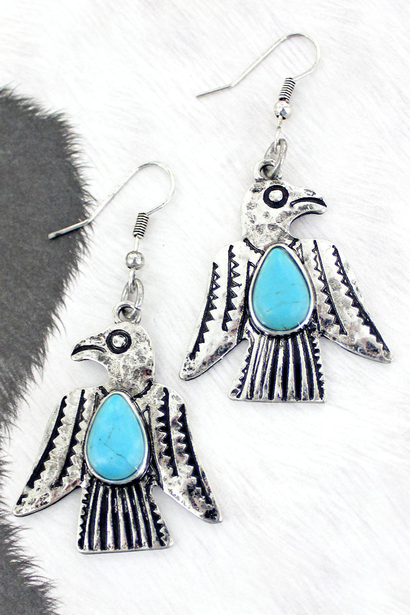 Turquoise and Silvertone Thunderbird Earrings