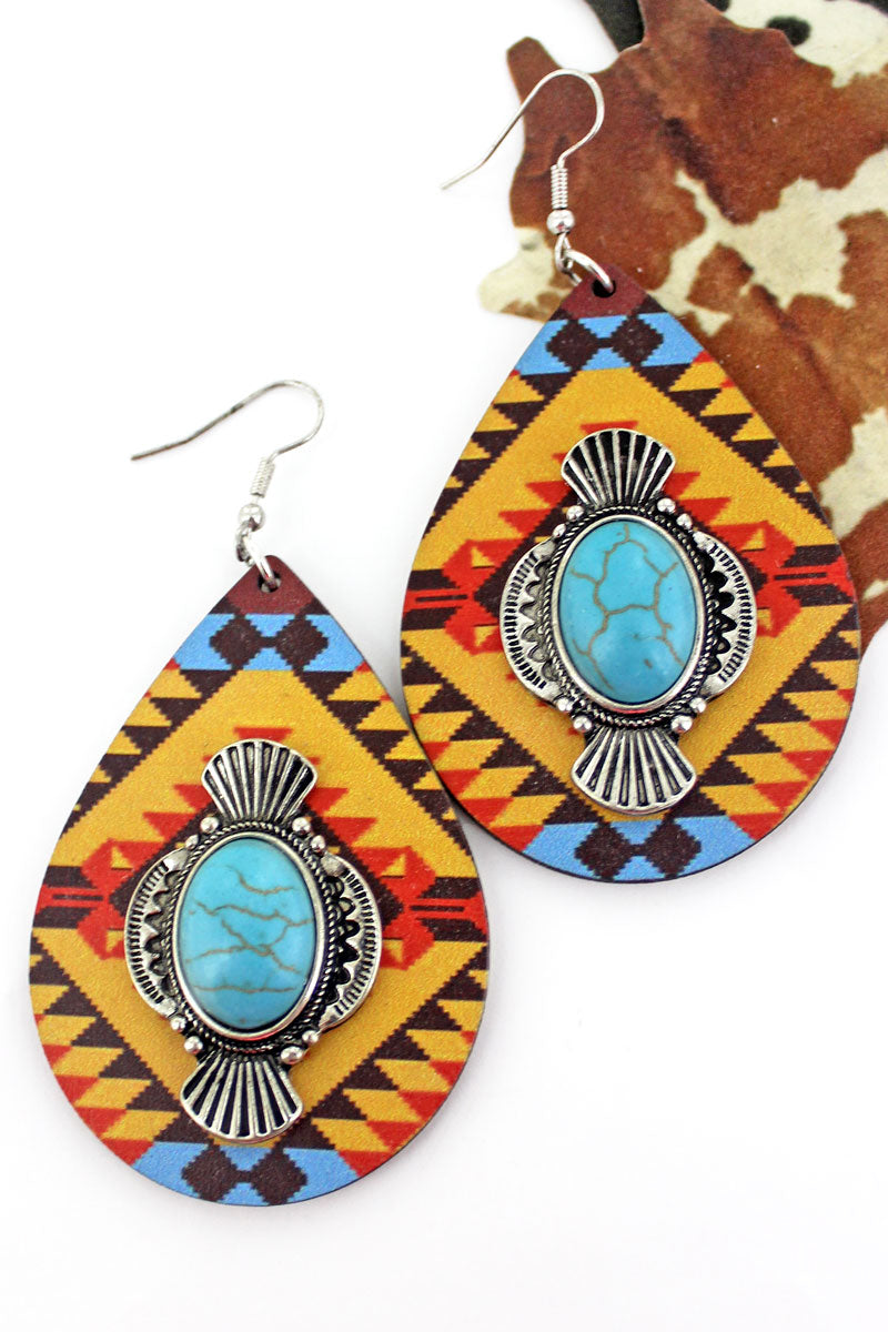 Yucca Sun River Wood Teardrop Earrings