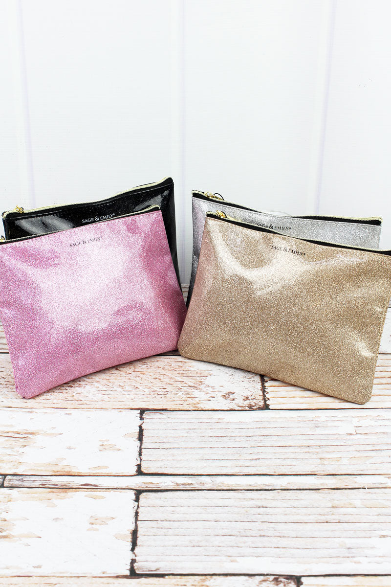 One Metallic Glitter Cosmetic Bag - SHIPS ASSORTED