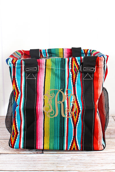 NGIL Southwest Serape Mini Collapsible Haul-It-All Basket with Mesh Pockets