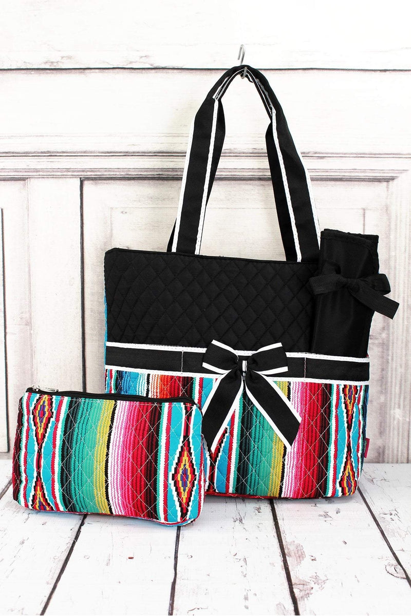 NGIL Southwest Serape Quilted Diaper Bag with Black Trim