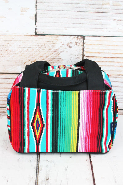 NGIL Southwest Serape Insulated Bowler Style Lunch Bag with Black Trim