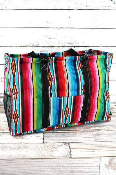 NGIL Southwest Serape Collapsible Double Haul-It-All Basket with Mesh Pockets and Lid