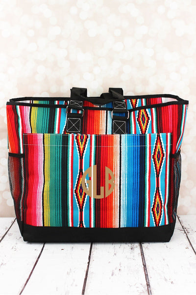 Southwest Serape Everyday Organizer Tote with Black Trim