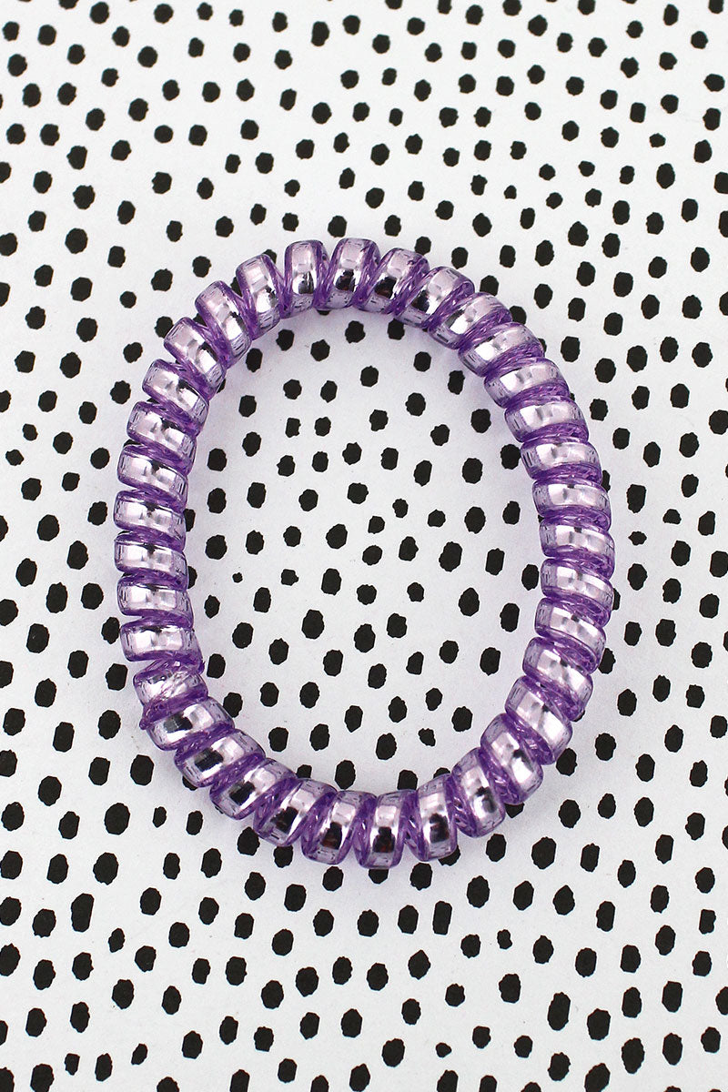Purple Shiny TeleCord Bracelet/Hair Tie