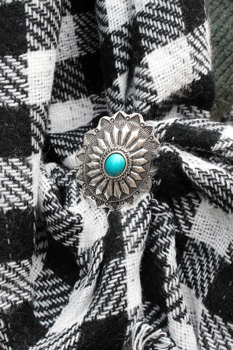 Burnished Silvertone with Turquoise Bead Oval Concho Scarf Slide
