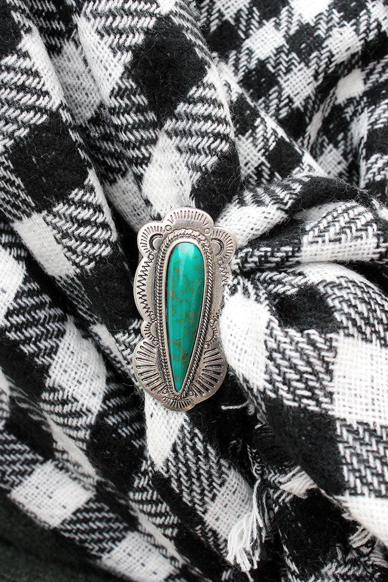 Western Turquoise Stone Elongated Teardrop Scarf Slide