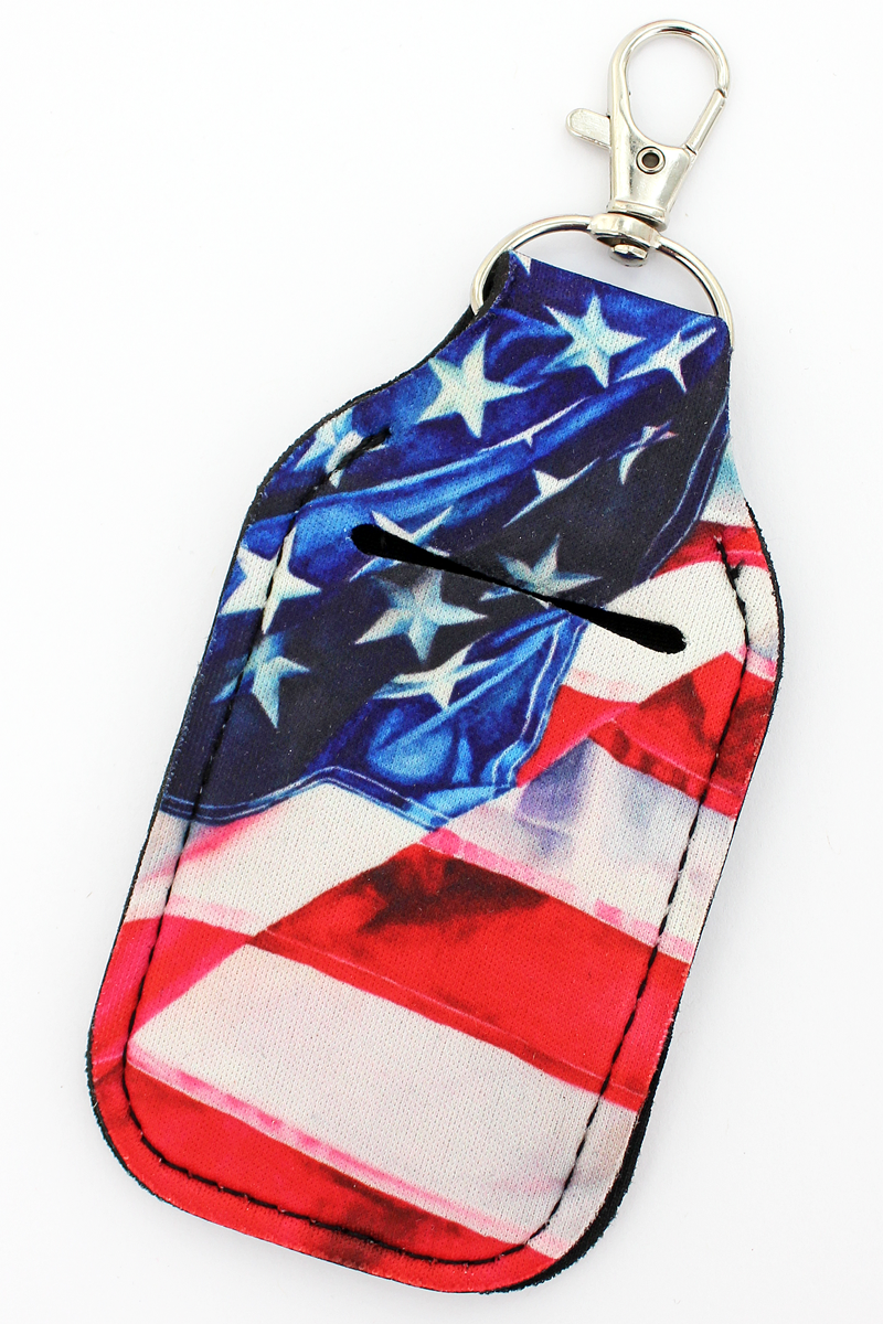 American Flag Hand Sanitizer Holder Keychain