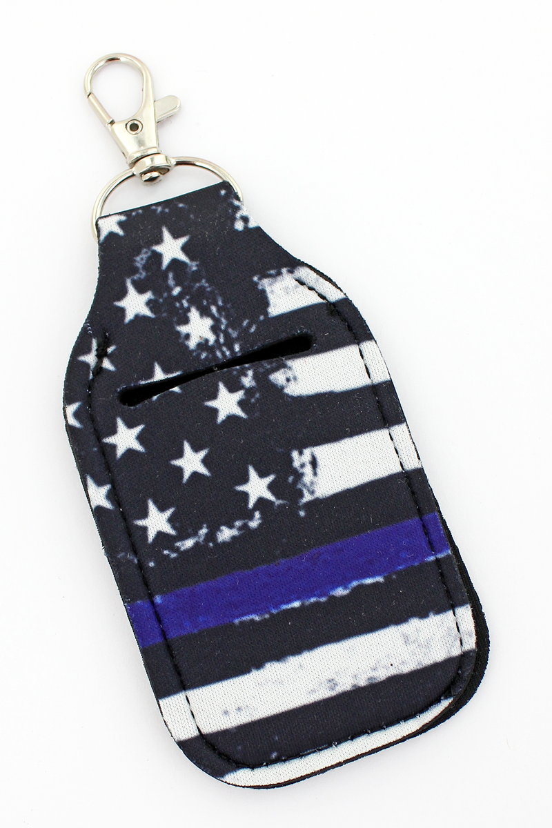 Thin Blue Line Flag Hand Sanitizer Holder Keychain